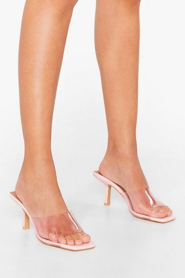 Pink Did We Make That Clear Stiletto Square Toe Mules