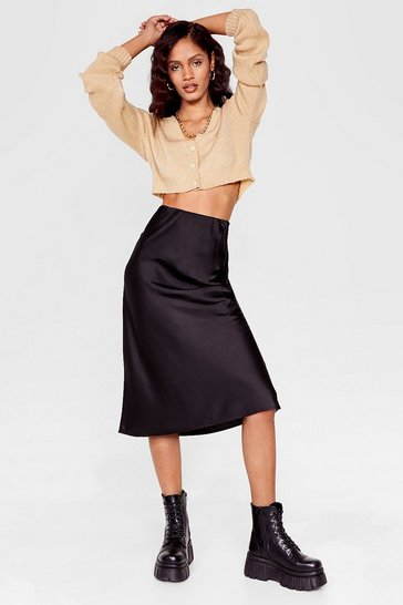 Black Just My Type Satin Midi Skirt