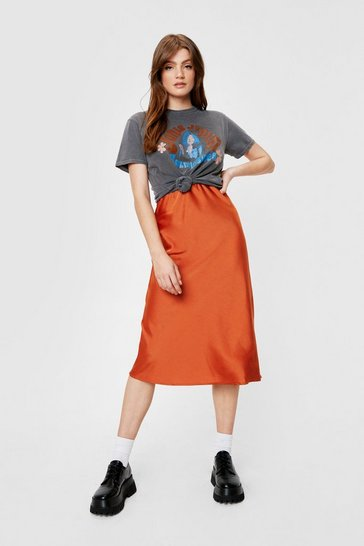 Rust Just My Type Satin Midi Skirt