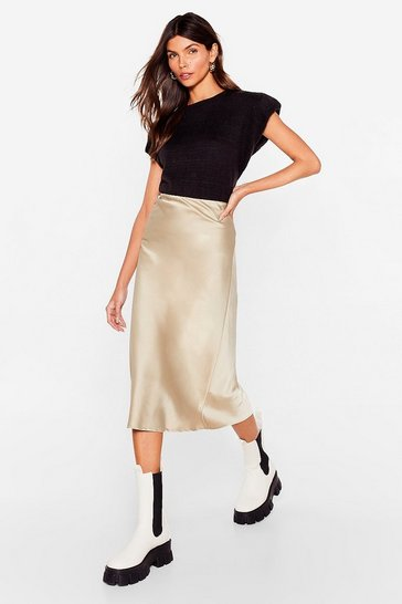 Stone Just My Type Satin Midi Skirt
