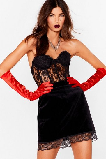 Red Too Hot to Hand-le Longline Satin Gloves