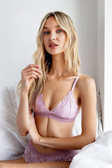 Mauve Wake Up Lace Triangle Bralette and Panty Set