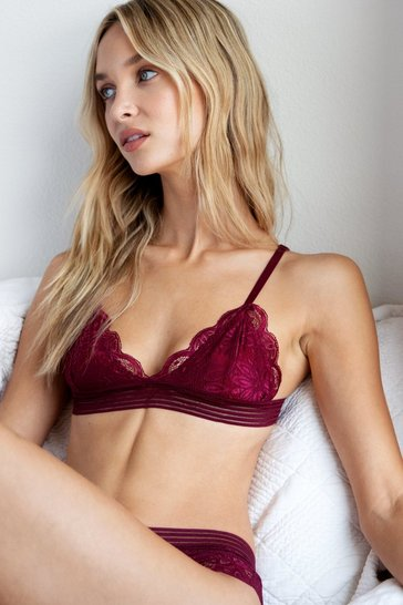 Wine Wake Up Lace Triangle Bralette and Panty Set