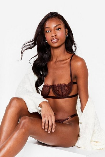 Chocolate Just In Lace Bralette and Thong Set