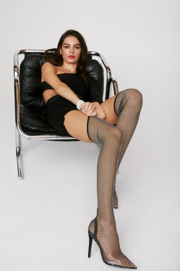Black Diamante Over The Knee Stiletto Boots
