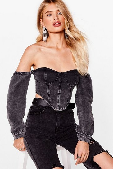 Black Denim Off The Shoulder Corset Top