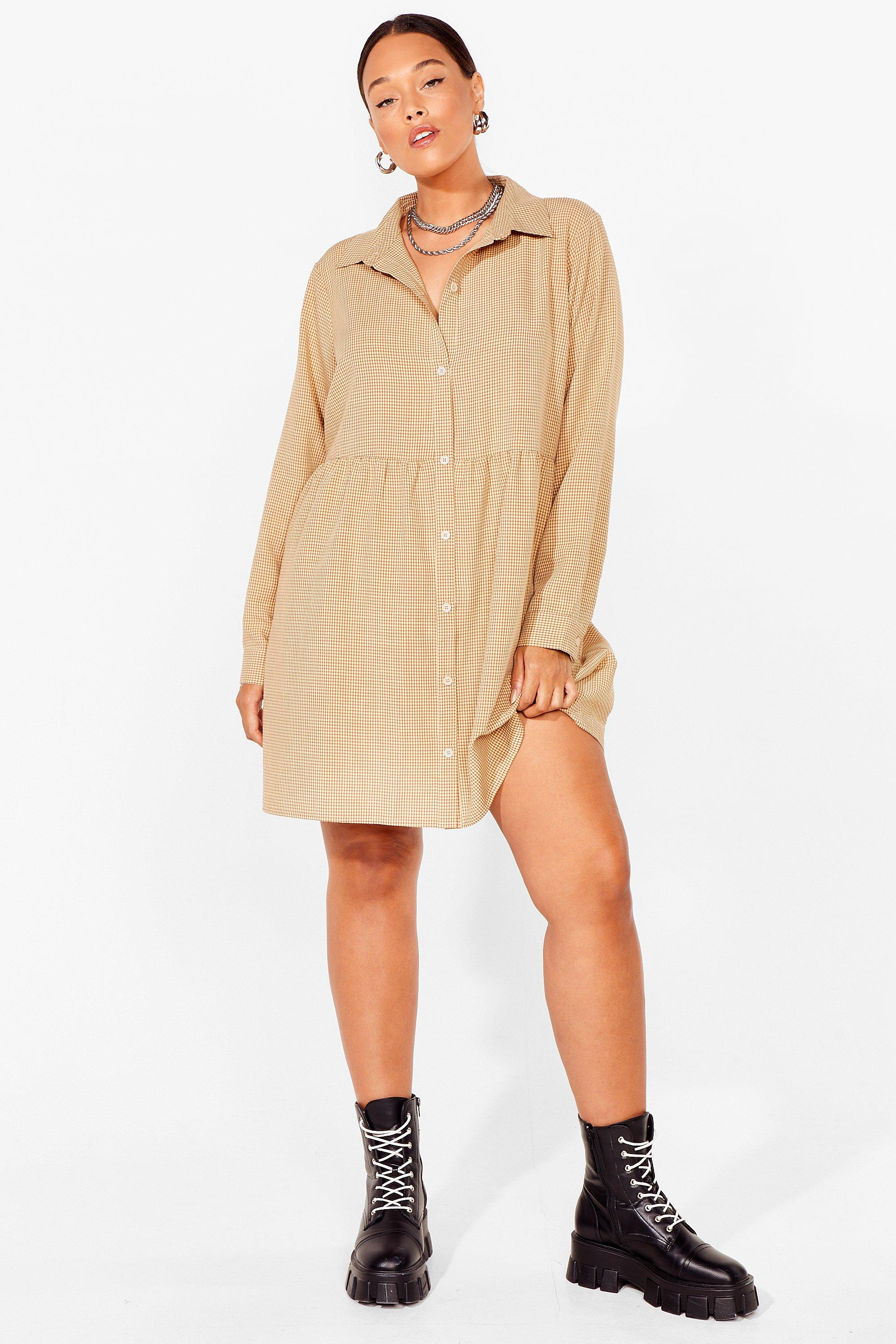 PLUS SIZE CHECK SMOCK DRESS 19