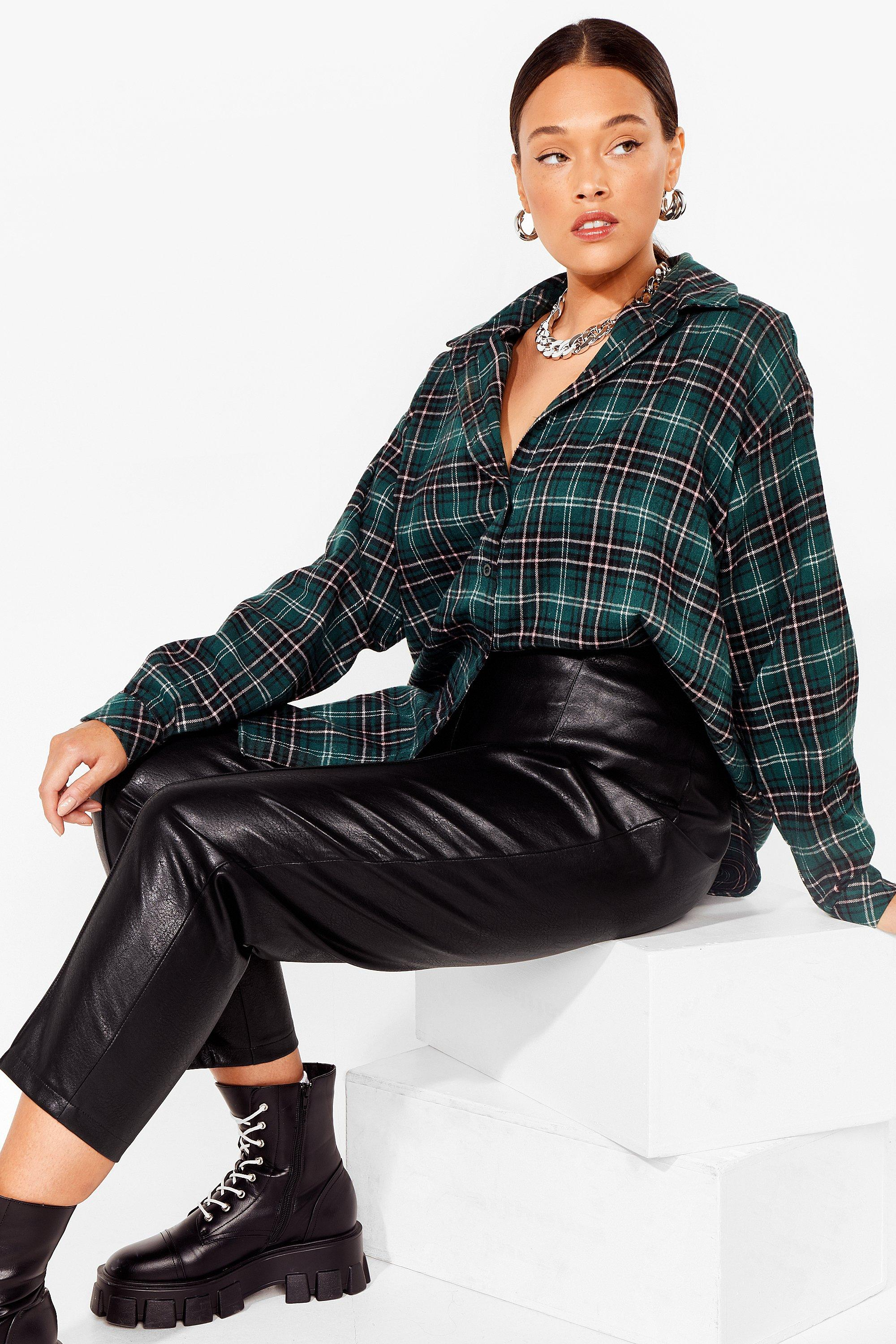 PLUS SIZE OVERSIZED GREEN CHECK SHIRT 16