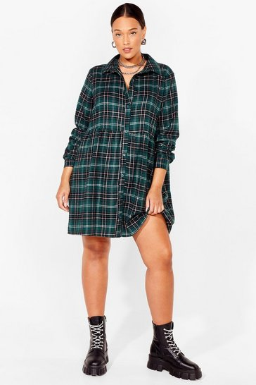 Green Plus Size Check Button Down Smock Dress