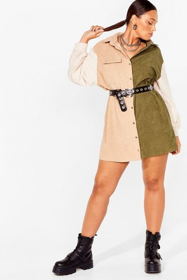 Khaki Writers Block Plus Two-Tone Shirt Dress