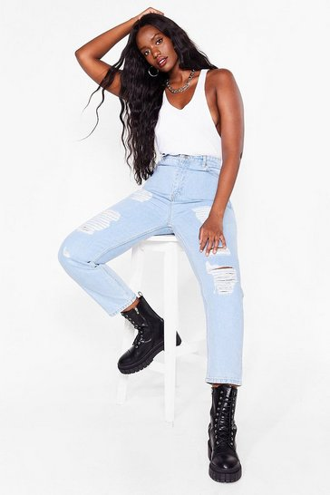 Light blue Plus Size Ripped Organic Mom Jeans