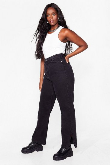 Black Plus Size Straight Leg Slit Organic Jeans