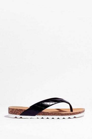 Black Croc It Out Faux Leather Flat Sandals