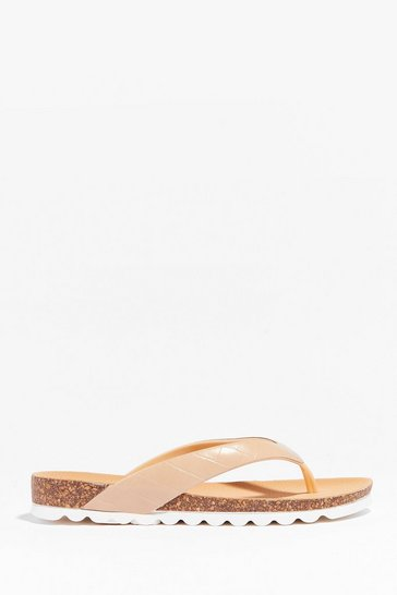 Beige Croc It Out Faux Leather Flat Sandals