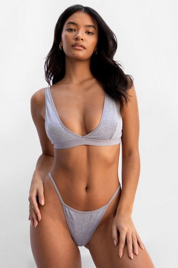 Grey Takes Two to Tanga Ribbed Bralette and Thong Set