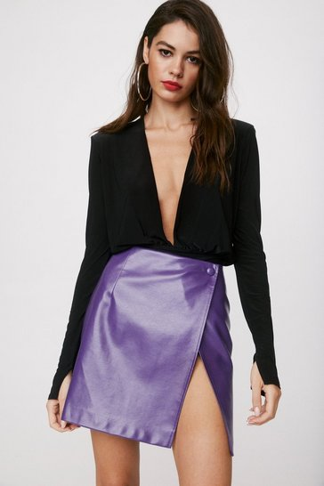 Purple Take the Lead Faux Leather Mini Skirt