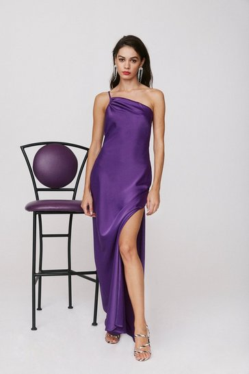 Purple All for One Shoulder Maxi Dress