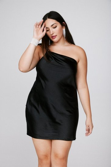 Black Heartbreak City Satin Plus Dress