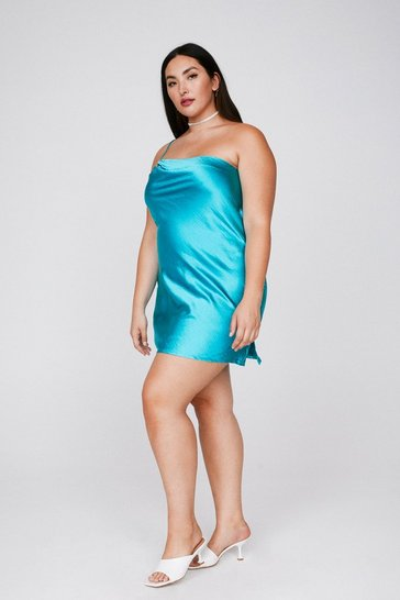 Turquoise Heartbreak City Satin Plus Dress