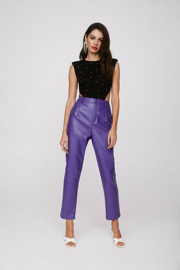 Purple Take the Lead Faux Leather Pants