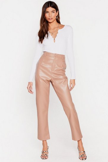 Tan Take the Lead Faux Leather Pants