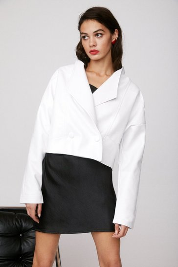 White Nice Ride Faux Leather Cropped Jacket