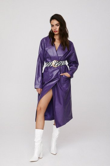 Purple Take the Lead Faux Leather Coat