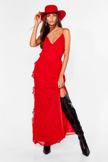 Red She Frill Be Loved Chiffon Maxi Dress