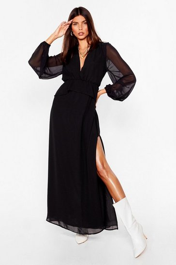 Black Chiffon the Lookout Plunging Maxi Dress