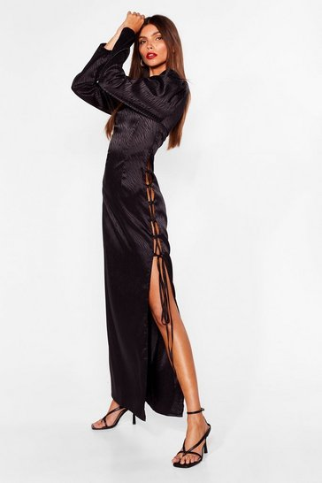 Black Wild Thoughts Satin Midi Dress