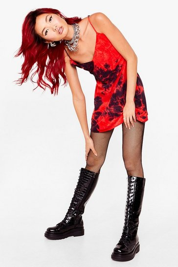 Red Let 'Em Slip Up Tie Dye Mini Dress