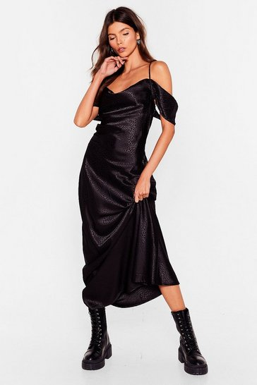Black Don't Cowl It Quits Jacquard Maxi Dress