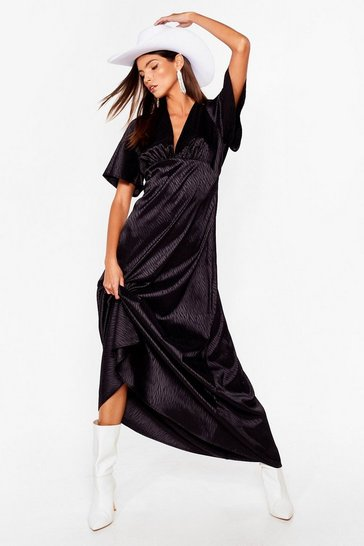 Black Zebra Jacquard V Neck Maxi Dress
