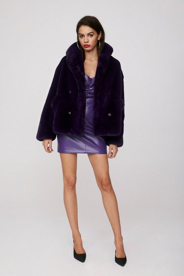Purple Double Breasted Faux Fur Jacket