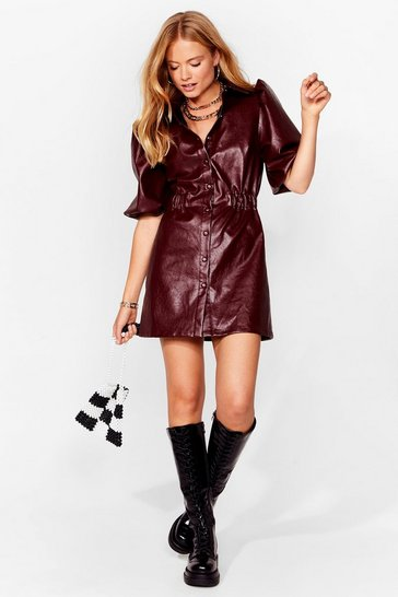 Burgundy Faux Leather Fallen in Love Mini Dress