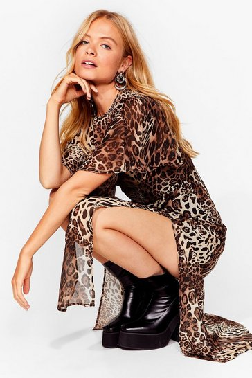 Tan Show 'Em Meow It's Done Leopard Maxi Dress