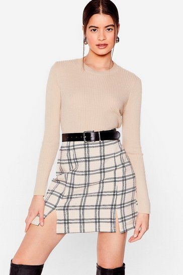 Stone Check In on 'Em Slit Mini Skirt