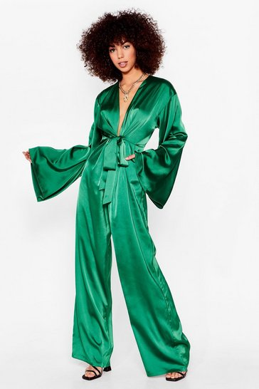 Green tie front long sleeve plunge wide leg jumpsuit