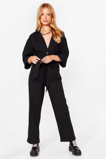 Slouching Around Oversized Belted Boilersuit, Black