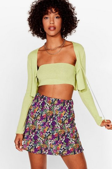 Purple Let's Grow Wild Floral Mini Skirt