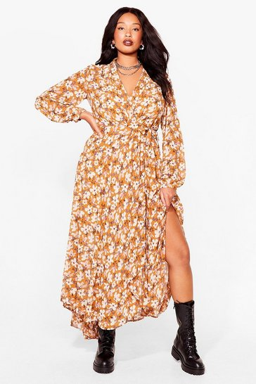 Mustard Growing Me Love Plus Floral Maxi Dress