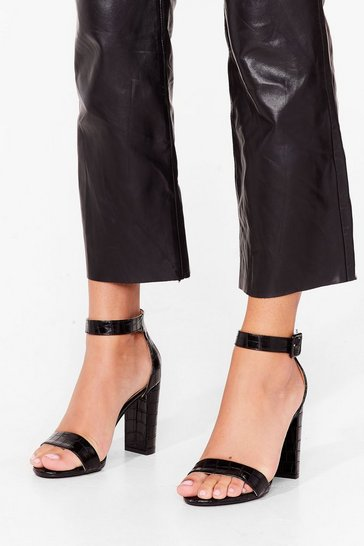 Black Croc to Go Faux Leather Block Heels