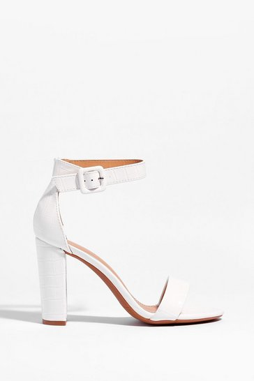 White Croc to Go Faux Leather Block Heels