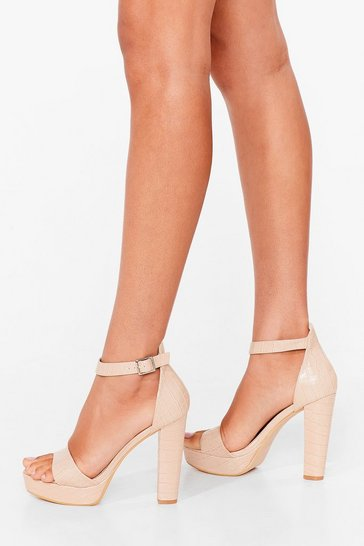 Beige Crazy in Love Faux Leather Platform Heels