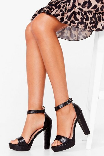 Black Crazy in Love Faux Leather Platform Heels