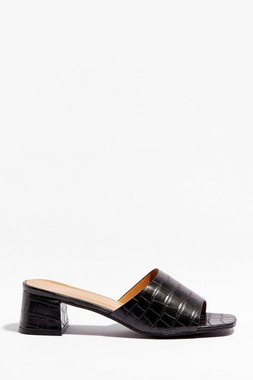 Black Slip Me Your Number Faux Leather Mules