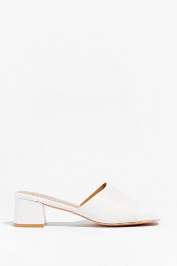 White Slip Me Your Number Faux Leather Mules
