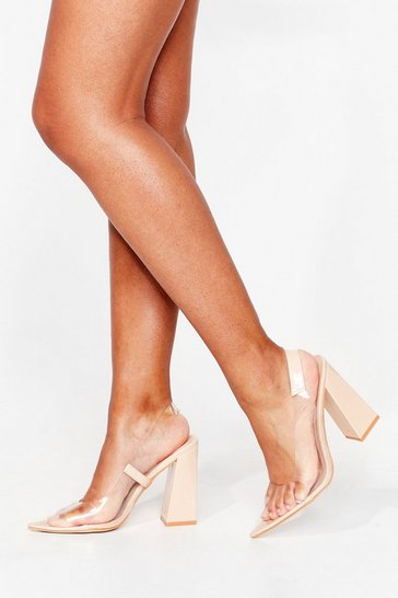 Nude Clear Things Up Faux Leather Slingback Heels