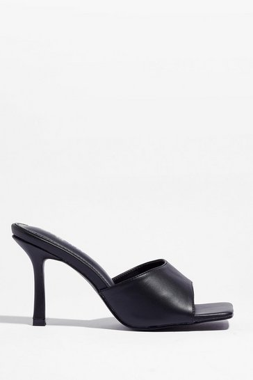 Black Square Gonna Own It Faux Leather Heeled Mules