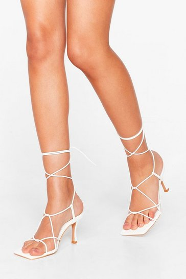 White PU SQUARE TOE SUPER STRAPPY HEELED MULES